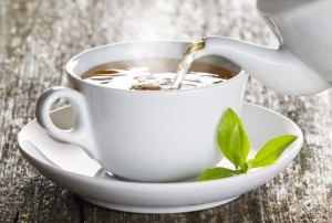 green tea contains l-theanine, which sooths and relaxes